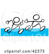 Clipart Illustration Of Two Stick Figures Passing A Baton During A Relay On A Blue Track