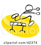 Clipart Illustration Of A Stick Figure Running And Leaping Over A Hurdle On A Yellow Track by Johnny Sajem