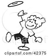 Clipart Illustration Of A Black And White Stick Boy Catching A Frisbee