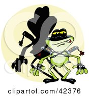 Clipart Illustration Of A Tough Ninja Frog With A Shadow In A Spot Light