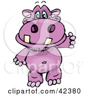 Clipart Illustration Of A Friendly Pink Hippo Walking