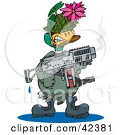 Clipart Illustration Of A Military Soldier Duck Holding A Weapon And Wearing A Lotus Disguise
