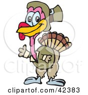 Clipart Illustration Of A Pilgrim Turkey Waving by Dennis Holmes Designs