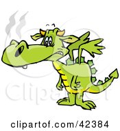 Clipart Illustration Of A Lonely Green Dragon Sniffling by Dennis Holmes Designs