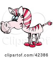 Clipart Illustration Of A Curious Pink Zebra