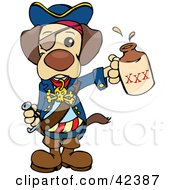 Clipart Illustration Of A Cute Pirate Dog Wearing An Eye Patch And Holding Out A Bottle