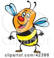 Clipart Illustration Of A Friendly Orange Black And Yellow Honey Bee by Dennis Holmes Designs
