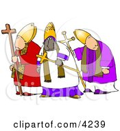 Three Bishops Standing Together One Is Ethnic