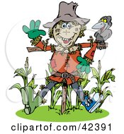 Clipart Illustration Of A Friendly Scarecrow Talking To A Crow At The Edge Of A Corn Crop by Dennis Holmes Designs