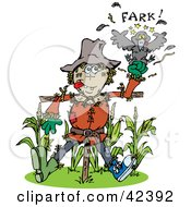 Clipart Illustration Of A Scarecrow Punching A Crow At The Edge Of A Corn Crop