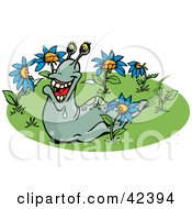 Clipart Illustration Of A Happy Slug Eating Blue Flowers by Dennis Holmes Designs