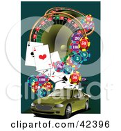 Clipart Illustration Of A Green Car On A Casino Background by leonid