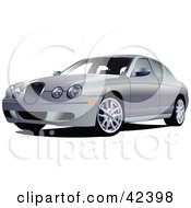 Clipart Illustration Of A Four Door Silver Car by leonid