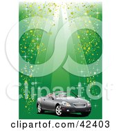 Clipart Illustration Of Rays Of Light And Sparkles Shining Down On A Convertible Car On Green