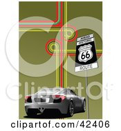 Clipart Illustration Of A Silver Modern Car Passing A Route 66 Sign On A Green Background With Colorful Lines by leonid