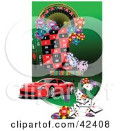 Clipart Illustration Of A Red Sports Car Car On A Casino Background