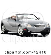 Clipart Illustration Of A Silver Convertible Car With The Top Down by leonid