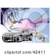 Clipart Illustration Of A Convertible Car With Bridal Flowers And Wedding Rings