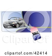 Clipart Illustration Of A Silver Convertible Car With A Zipper And Sales Tag by leonid