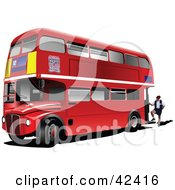 Clipart Illustration Of An Attendant At The Back Of A Double Decker Bus by leonid