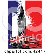 Clipart Illustration Of A Double Decker Bus Union Jack And Big Ben On A Colorful Grunge Background by leonid #COLLC42417-0100