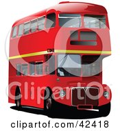 Clipart Illustration Of A Red 3d Double Decker Bus