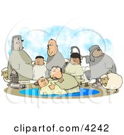 Sheep And Family Watching Their Son Get Baptised By A Religious Christian Figure Clipart