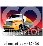 Clipart Illustration Of A Red Car Passing A Yellow Big Rig On A Highway by leonid