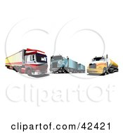 Clipart Illustration Of Three Big Rigs Parked