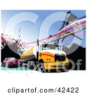 Clipart Illustration Of A Purple Car Passing A Yellow Big Rig On A Highway