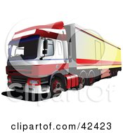 Clipart Illustration Of A Red And White Big Rig Truck by leonid