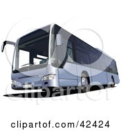 Clipart Illustration Of A Silver Tourist Bus
