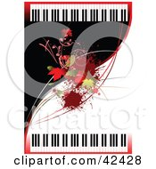 Clipart Illustration Of A Wavy Black And White Background With Leaves And Pianos by leonid #COLLC42428-0100