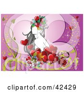 Clipart Illustration Of A Pretty Young Lady Surrounded By Flowers And Hearts On Purple by leonid