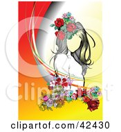 Clipart Illustration Of A Pretty Young Lady Wearing Flowers In Her Hair On A Gradient Background by leonid