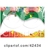 Clipart Illustration Of A Floral Butterfly Background With Roses And Waves Of Green Orange And White by leonid