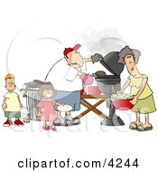 Dad Mom Son And Daughter Grilling Barbecue Hamburgers