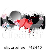 Clipart Illustration Of A Black Grunge Bar With Flowers And Speakers On White by leonid
