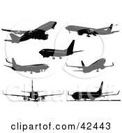 Clipart Illustration Of Black Plane Silhouettes On White by leonid