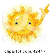 Clipart Illustration Of A Friendly Yellow Sun Gesturing Upwards by Pushkin