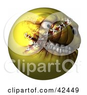 Clipart Illustration Of A Mad Yellow 3d Evil Head With Stitches by Leo Blanchette