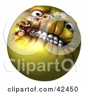 Clipart Illustration Of An Evil Yellow 3d Evil Head With Stitches