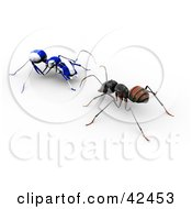 Clipart Illustration Of A Worker Ant Facing A Blue And White Striped AO Maru Ant by Leo Blanchette
