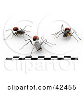Three Ants Running Forward Towards A Finish Line In A Race