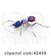 Clipart Illustration Of A Red Ant With A Blue Racing Stripe Painted On Its Back by Leo Blanchette