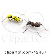 Clipart Illustration Of A Worker Ant Facing A Bright Yellow Ant by Leo Blanchette