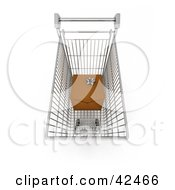 Clipart Illustration Of A Wrapped Gift In A Shopping Cart by stockillustrations