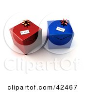 Two Red And Blue Gift Boxes Resting Together