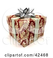 Clipart Illustration Of A Silver Ribbon And Bow Around A Red And Gold Gift