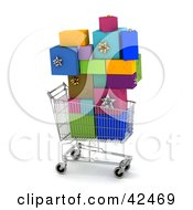 Clipart Illustration Of A Shopping Cart Carrying A Stack Of Colorful Gifts by stockillustrations
